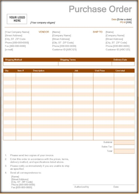purchase order forms   sample form templates  word