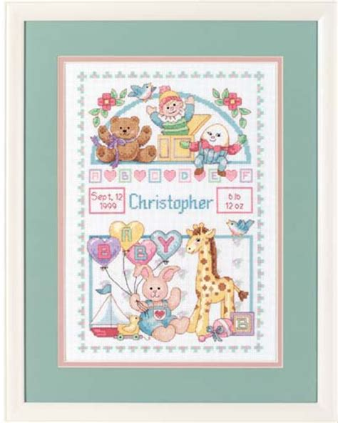 Birth Record Cross Stitch Kits Dimensions Shelf Birth Record Cross Stitch Kit 3729 123stitch