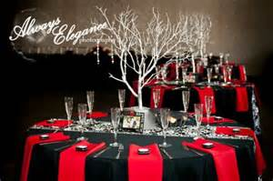 Red black and white themed wedding