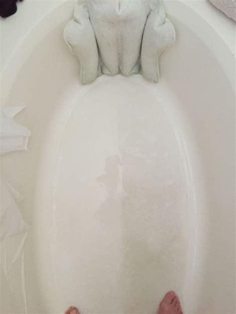 magic eraser bathtub clean acrylic or fiberglass tub left side cleaned with a
