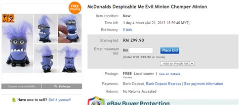 ebay atau amazon beli patung minion mcd semurah rm499 90 di ebay budak