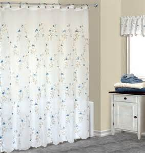 Loretta embroidered blue floral fabric shower curtain w available