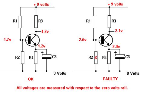 lower base bias resistor open circuit tutorial transistor fault finding electronic hobby