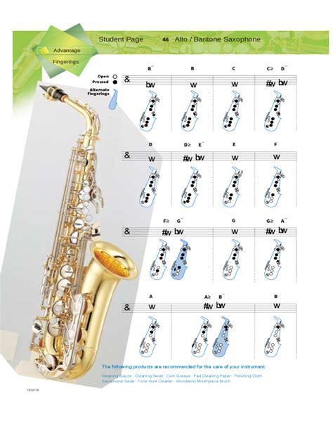 saxophone chart alto and baritone saxophone fingerings free