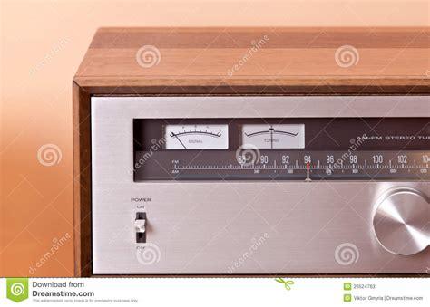 retro hi fi cabinet vintage hi fi stereo tuner in wooden cabinet stock image