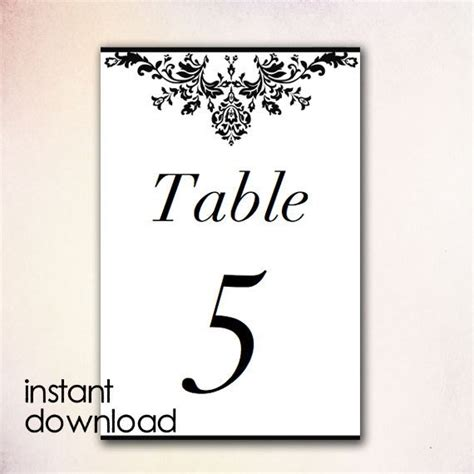Items Similar To Diy Table Numbers Template Instant Download Microsoft Word Version Black Table Number Template Word