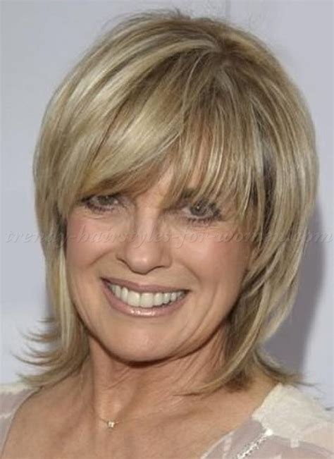 shoulder length hairstyles for women over 50 with bangs hairstyles for women over 50 medieum length chunky layers
