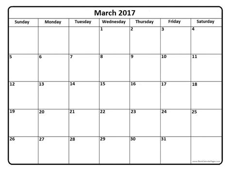 Calendar For March March 2017 Calendar With Us Holidays