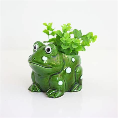 Frog Planters by Sold Vintage Ceramic Frog Planter Wise Apple Vintage