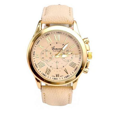 Geneva Jam Tangan Analog Wanita Kulit Sintetis Leather 9298 Merah Muda luxury gold geneva s geneva pu leather analog quartz dress watches beige reloj clock