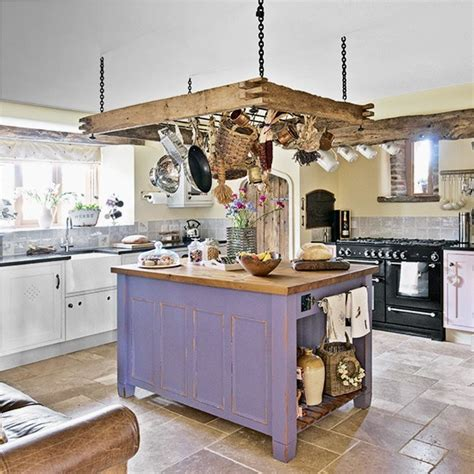 country kitchen island unit kitchen designs rustic kitchen with ceiling hung pan rack and purple