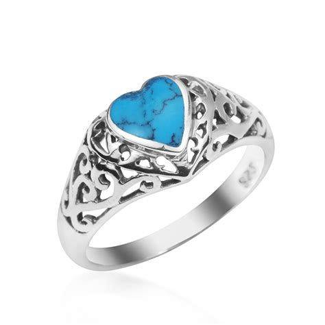 Gemstone Home Decor by True Devotion Turquoise Heart Sterling Silver Ring 7