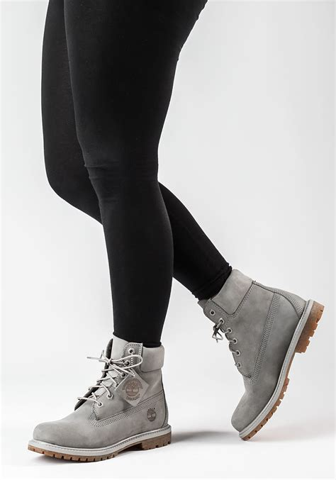 womans grey boots timberland premium 6 inch nubuck boots in gray lyst