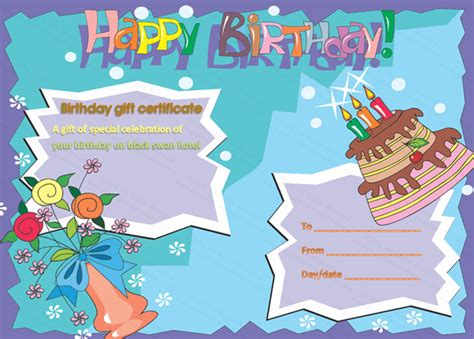 Birthday Card Gift Certificate Template by Birthday Gift Certificate Templates