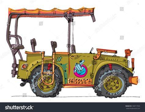 cartoon safari jeep safari car cartoon stock vector 108717935 shutterstock