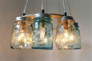 Mason jar chandelier clear and blue ring
