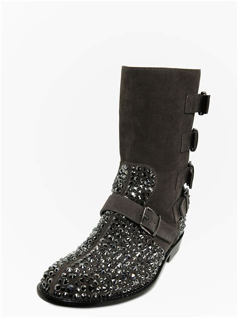 giuseppe zanotti homme crystals suede multi biker