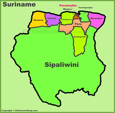 where is suriname on the map administrative divisions map of suriname