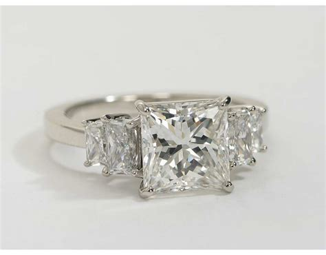 four square brilliant engagement ring in