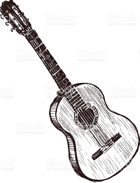 black and white sketch of an acoustic guitar stock vector