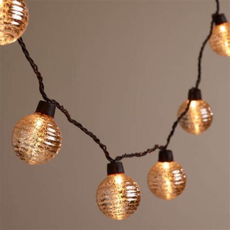 Silver Ribbed Mercury Glass Orb 10 Bulb String Lights Market String Lights
