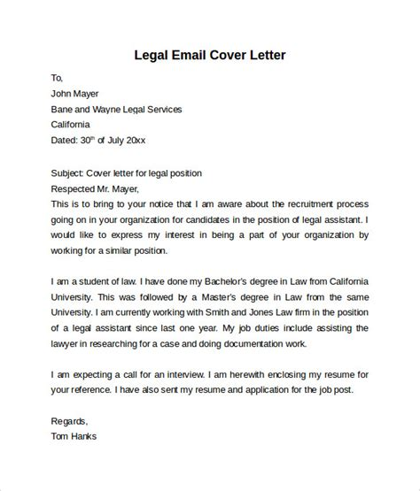 Cover Letter Junior Counsel Email Cover Letter 7 Free Sles Exles Formats