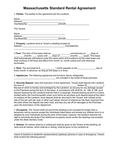 Perfect Sle Of Massachusetts Standard Rental Agreement With 8 Points Of Fillable Information Standard Rental Agreement Template