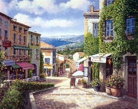 towns for sale ux017 european towns painting in oil for sale
