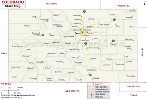 colorado state map usa colorado state map