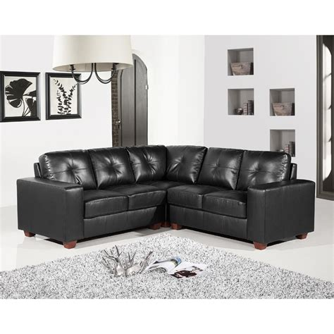 Leather Corner Sofa Richmond 5 Seater Black Leather Corner Sofa