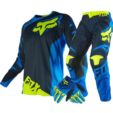 cing gear fox racing new 2016 mx 180 race blue fluro yellow motocross gear gloves set ebay