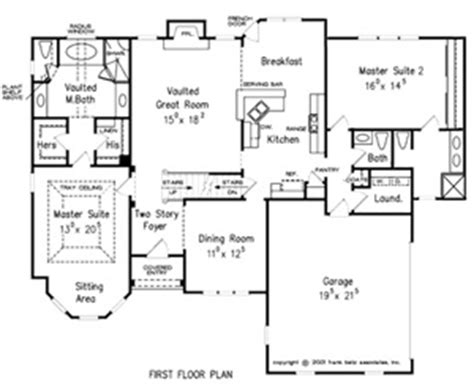 1st floor master floor plans dual master house plans dual master homes dual master
