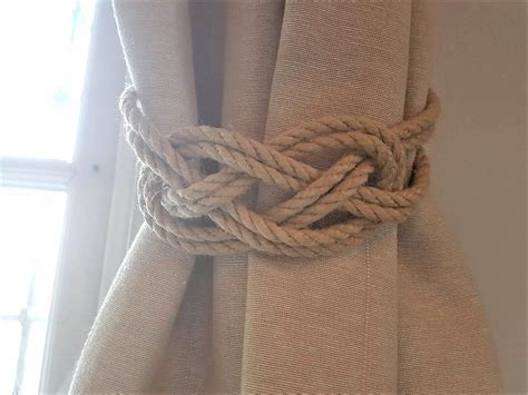 Rope Tiebacks For Curtains Hemp Rope Beige Rope Carrick Bend Knot Curtain Tie Backs Large Knot Nautical Style Shabby Chic