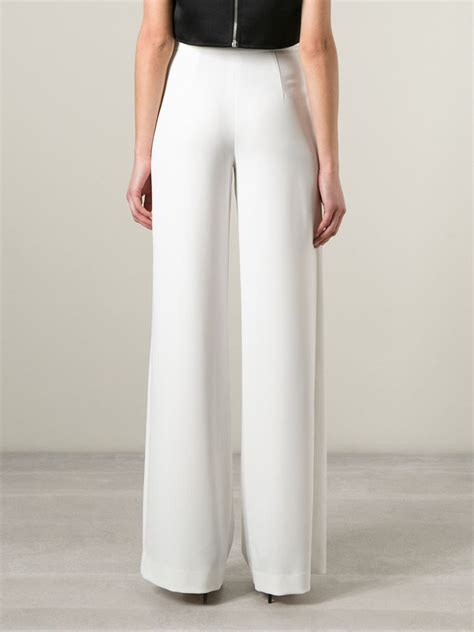 High Waist Wide Leg lyst high waisted wide leg trousers in white