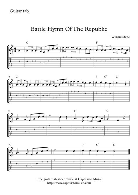 Battle Hymn Of The Republic Guitar Chords