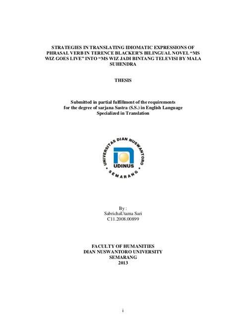thesis translation strategies thesis sabricha strategies in translating idiomatic
