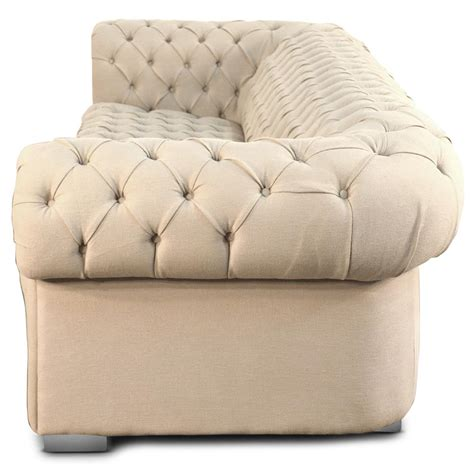 marea modern classic tufted ivory beige ramie linen sofa