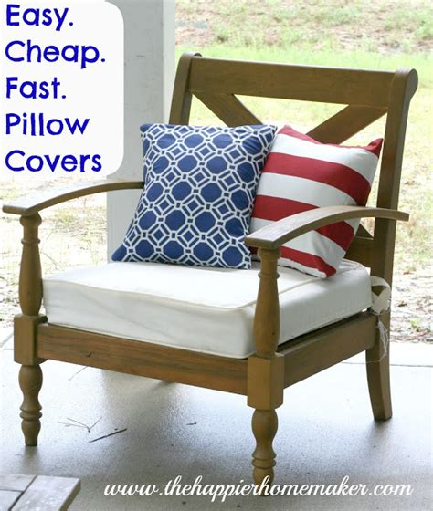 easy diy pillow covers easy cheap fast diy pillow covers the happier homemaker