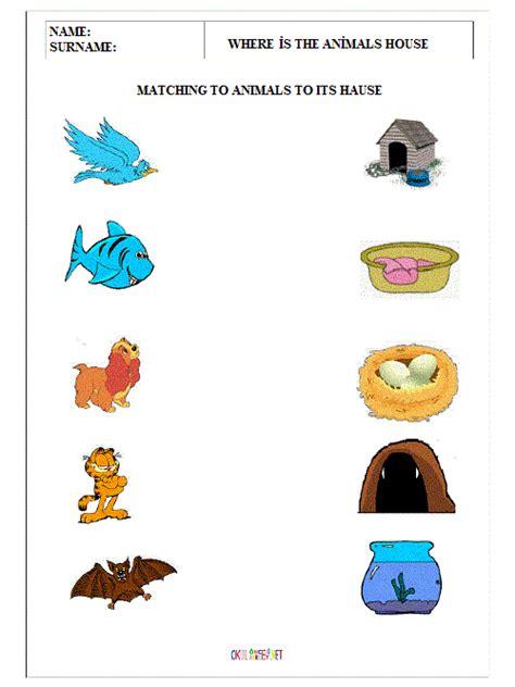 printable animal habitat matching game new 277 kindergarten worksheets on animal homes