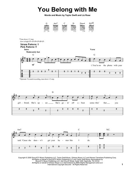 You Belong With Me Guitar Tutorial | you belong with me sheet music by taylor swift easy