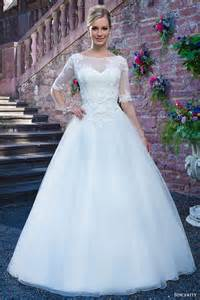 Lace alencon lace tulle ball gown wedding dress half illusion sleeves