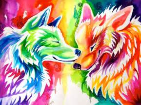 colorful wolf two rainbow wolves on ebay by lucky978 on deviantart