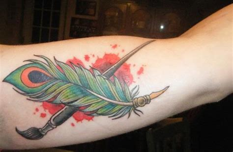 paint brush and feather tattoo tattoomagz
