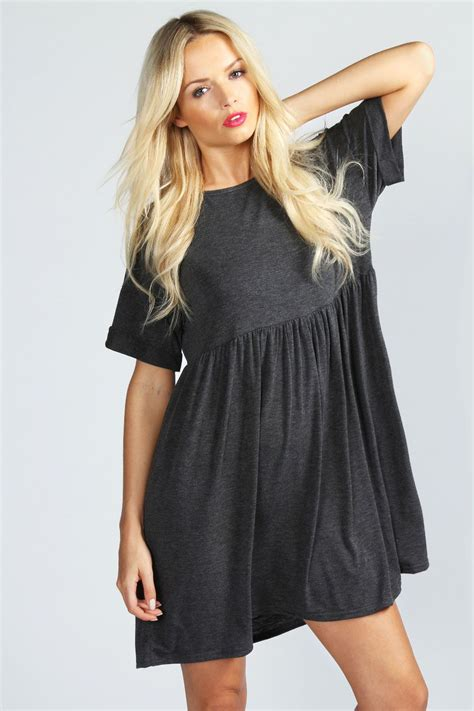 pattern dress boohoo ruby oversized smock dress from boohoo clothes
