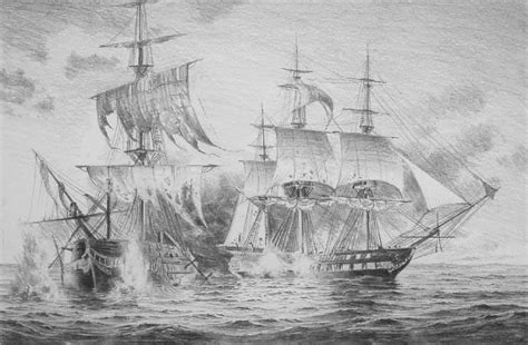 war boat drawing pencil sketch of uss constitution and hms guerriere