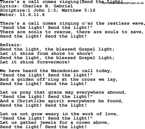Send The Light Lyrics by Most Popular Church Hymns And Songs There S A Call Comes Ringing Send The Light Lyrics Pptx