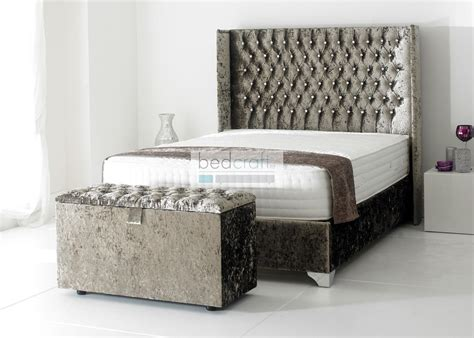 What Stores Sell Bed Frames Wingback Upholstered Bed Frame Chesterfield Crushed Velvet Silver Ebay