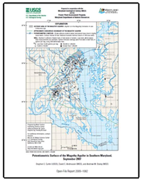 maryland aquifer map potentiometric surface of the magothy aquifer in southern