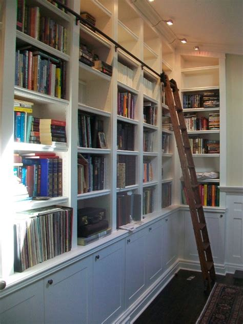 Bookcase With Library Ladder Built In Bookcases With Rolling Library Ladder