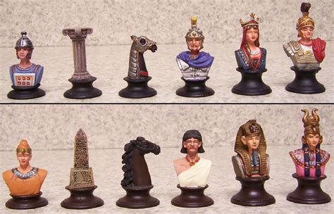 ancient chess chess set pieces hand painted pewter ancient egypt vs rome